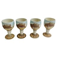 Vintage Kutahya Athens Greece Greek Pottery Souvenir Ouzo Cups With Hand Painted Parthenon Architecture Building