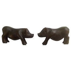 Adorable Hand Carved Wood Pig Hog Animal Figurines