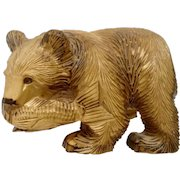 Adorable Wood Carved Bear Holding a Salmon Fish Figurine