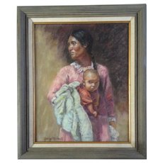Gary Michael, Indian Woman With Child, Painting Works on Paper, Signed by Listed Artist Original Pastel