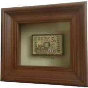 S. L. Miles 1980 Smiles U.S.A. Postage Stamp Art 5 Cent Homemakers 3-D Shadow Box Picture Signed By Artist