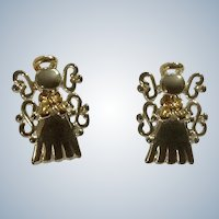 MJ Christmas Angels Small Pierced Earrings  3/4""