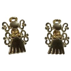 Silver Tone Angels Small Pierced Ear Earrings with Stud Post Christmas Costume Jewelry Marked MJ 3/4""