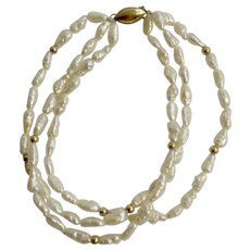 "Fresh Water Pearls On Three Strands Bracelet With 14K Gold Clasp And Beads 7"" Wrist"