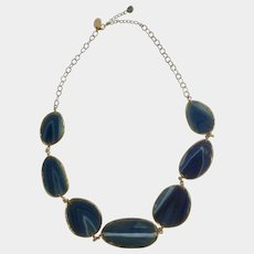 """Cut And Polished Natural Blue Stone Necklace 30-1/2"""" Long Classic Gems International CGI"""