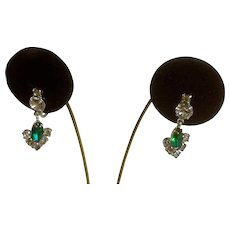 "Vintage Emerald Colored and Bright Faux Diamond Crystals Dangling Arrowhead Screw Back Earrings 1-1/8"" Long"