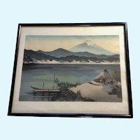 Yoshimoto Masao Mt. Fuji Sunset Lake Shore Japanese Woodblock Print