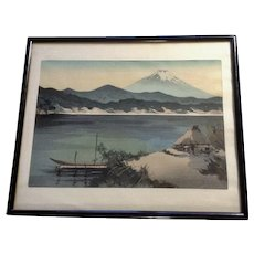 Yoshimoto Masao Mt. Fuji Sunset Lake Shore Vintage Japanese Woodblock Print
