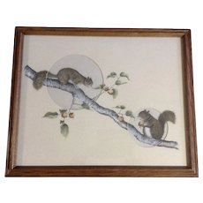 Kendra Schwabel, Two Adorable Squirrels Gathering Nuts Mixed Media Watercolor Painting Signed by Minnesota Artist