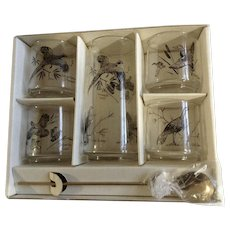 Vintage Anchor Hocking Game Bird Outdoorsman Cocktail 6 piece Set of Glasses, Pitcher and Stirring Spoon