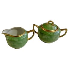 Pickard Cream and Covered Sugar Bowl Green Leaf with 24K Gold Trim Bavaria Fine China Dishes