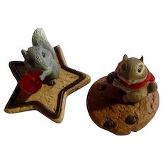 Chipmunk and Squirrel Cookie Ornament Clip-on Decoration for Christmas Tree, Figurines Hallmark Cards 1988 and 1987