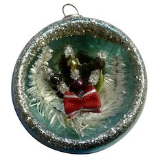 Vintage Mirrored Light Blue Glass Ball Concave Indent Diorama Christmas Tree Ornament Japan