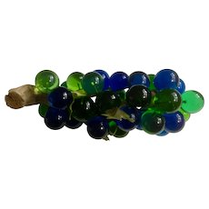 Mid-Century Lucite Acrylic Resin Grapes Large Cluster Wooden Drift Wood Log Blue & Green