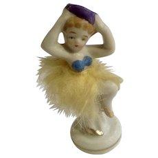 Vintage Burlesque Girl Dancer with Fur Skirt Porcelain Figurine Japan