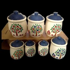 New Avenues Apple Orchard Fruit Trees Jar Canister Vintage Discontinued RARE Ceramic 7 Piece Set