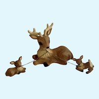 Artmark Chain Deer & Fawn Set Figurines Hand Painted Japan