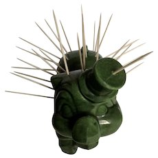 Mid-Century Appetizer Hors D'oeuvre Green Pig Toothpick Holder Ceramic Figurine
