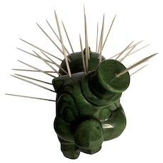 Vintage Appetizer Hors D'oeuvre Green Pig Toothpick Holder Ceramic Figurine