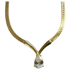 Diamond Rhinestone Pendant on Gold-tone Chain Necklace Costume Jewelry 17""