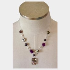 """Vintage Natural Stones and Mother of Pearl Sterling 925 Necklace 18-1/2"""""""