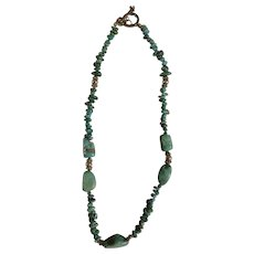 Vintage Turquoise Natural Stone Necklace with Sterling Silver 925 Beads Jewelry 18-1/2""