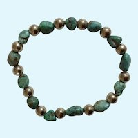 Turquoise Natural Stone Bracelet with Round Silver tone Beads Costume Jewelry 6-1/4""