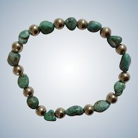 """Turquoise Natural Stone Bracelet with Round Silver tone Beads Costume Jewelry 6-1/4"""""""
