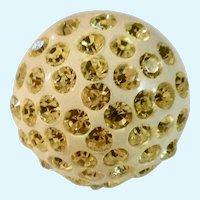 Cream Colored Rhinestones on Domed Button Ring Copper