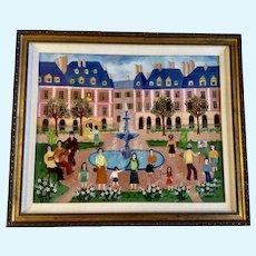 Irene Darget Bastien, Folk Art Oil Painting European Town Listed French Artist