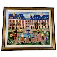 Irene Darget Bastien, Original Folk Art Oil Painting European Town Square Signed Listed French by Artist