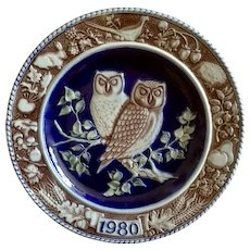 Owl Plate Goebel Bavarian Forest Series Saltglazed Stoneware 1st Edition 1980 Retired