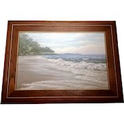 Jarern Waves, Australia Costal Seascape Waves on a Deserted Beach, Oil Painting on Canvas Signed by Artist