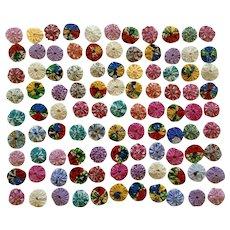 100 Yo Yo Fabric Quilt Scrapbook Crafts Applique  Pieces