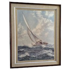 Montague Dawson Print, Yacht Race Seascape Sailboats, 1953 Lithograph Signed