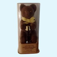 Vintage Max Factor Fuzzy Brown Bear with Aquarius Perfume in Original Plastic Case
