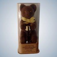 Vintage Max Factor Fuzzy Brown Bear with Aquarius Perfume in Original Plastic Case