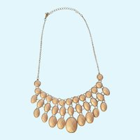 Beautiful Peach Gold-tone Plastic Faux Diamond Cut Beads Necklace