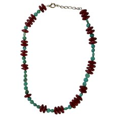 Polished Red and Turquoise Beaded Necklace Costume Jewelry 19 Inch Long