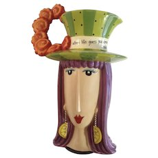 Dolly Mama's by Joey 'When Life Gives You Lemons, Add Vodka!' Birthday Girl Head Vase Lady Pitcher with Lemon Earrings Discontinued