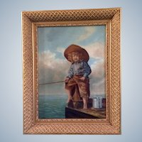 19 Century Boy Fishing Victorian Oil Painting on Canvas