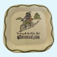 Los Angeles Potteries Square Sandwich Plate A Bicycle Built for Two