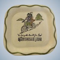 Vintage California Los Angeles Potteries Square Sandwich Plate 'A Bicycle Built for Two' #350