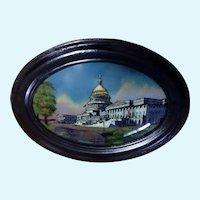 Antique 1916 US Capitol Building Washington DC Reverse Painting