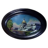 Antique 1916 US Capitol Building Washington DC Reverse Painting on Convex Glass Chicago Portrait Company