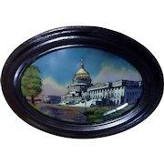 Antique 1916 US Capitol Building Washington DC Reverse Painting on Convex Glass Chicago Portrait Company