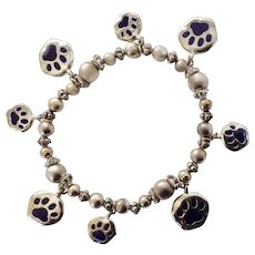 Navy Blue Pet Paw Prints Silver-tone Charm Bracelet Costume Jewelry