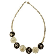 Nautical Medallion Coin Necklace Gold-tone, White and Black Enamel Costume Jewelry Necklace