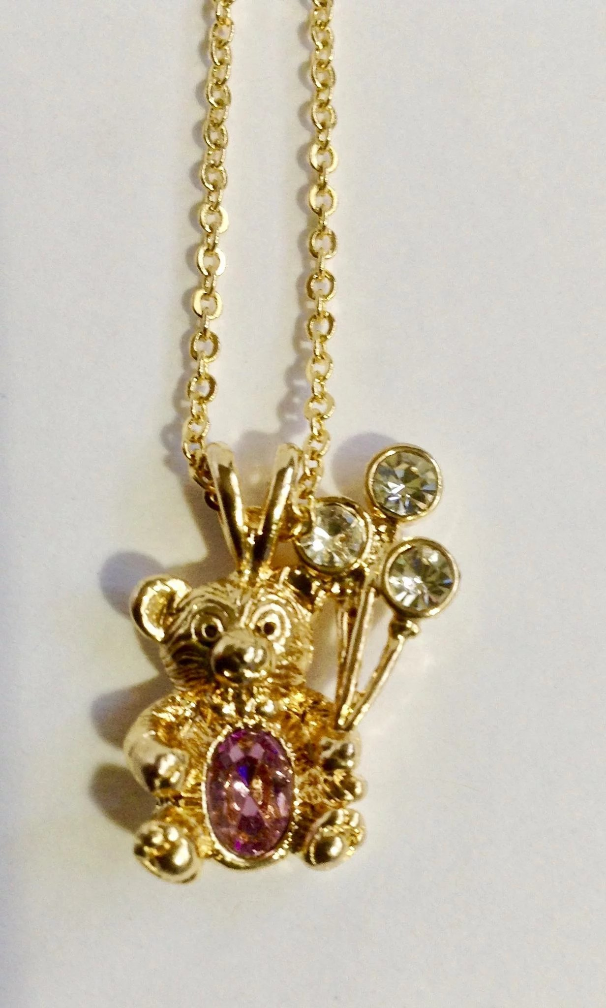 Adorable Dmc 99 Teddy Bear Birthstone Faux Amethyst Gold