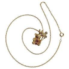 Adorable DMC 99 Teddy Bear Birthstone Faux Amethyst Gold-tone February Balloon Children's Necklace